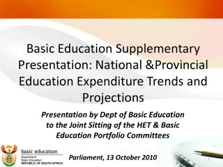 Department of Basic Education Expenditure Trends & Projections