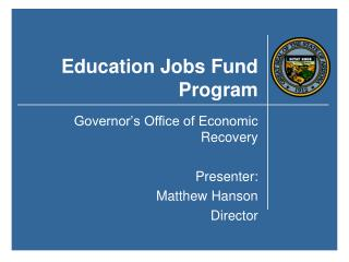 Education Jobs Fund Program