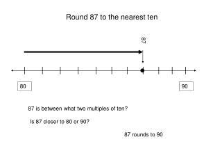Round 87 to the nearest ten