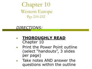 Chapter 10   Western Europe Pgs 210-232