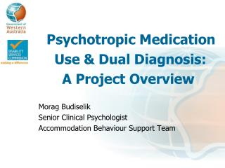 Psychotropic Medication  Use & Dual Diagnosis: A Project Overview Morag Budiselik