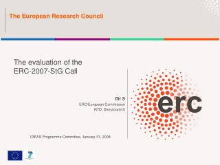 Dir S ERC/European Commission RTD, Directorate S