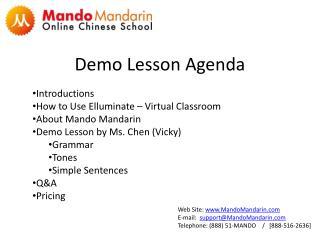 Demo Lesson Agenda