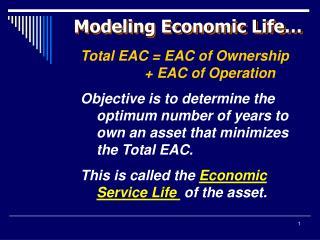 Modeling Economic Life…