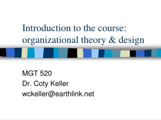 Introduction to the course: organizational theory & design