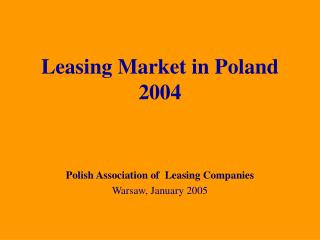 Leasing Market in Poland  2004