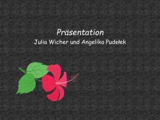 Pr sentation  Julia Wicher und Angelika Pudelek