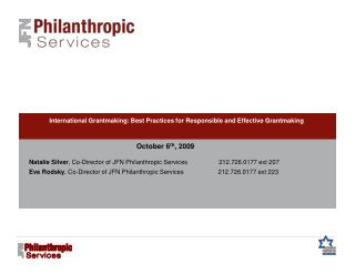 International Grantmaking: Best Practices for Responsible and Effective Grantmaking