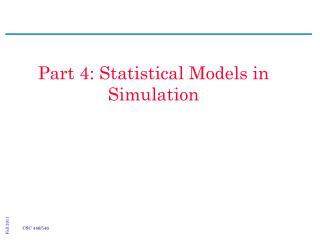 Part 4: Statistical Models in Simulation