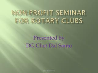 Non-Profit Seminar for Rotary Clubs