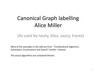 Canonical Graph  labelling Alice Miller
