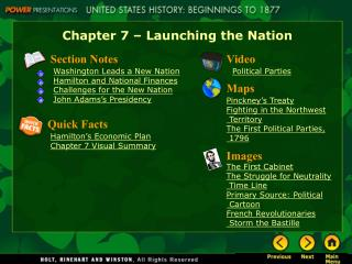 Chapter 7 � Launching the Nation