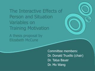 Committee members: Dr. Donald Truxillo (chair) Dr. Talya Bauer Dr. Mo Wang