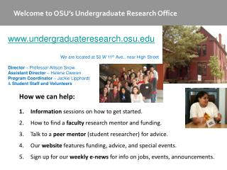 Welcome to OSU�s Undergraduate Research Office