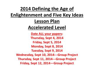 2014 Defining the Age of Enlightenment and Five Key Ideas Lesson  Plan Accelerated Level
