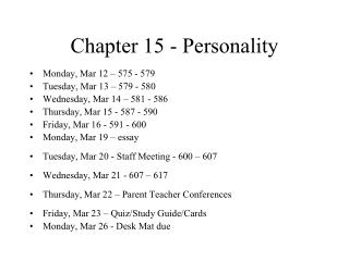 Chapter 15 - Personality