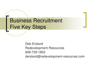 Business Recruitment Five Key Steps