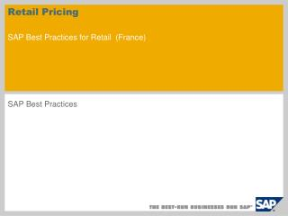 Retail Pricing SAP Best Practices for Retail ( France )