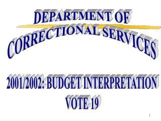 2001/2002: BUDGET INTERPRETATION VOTE 19