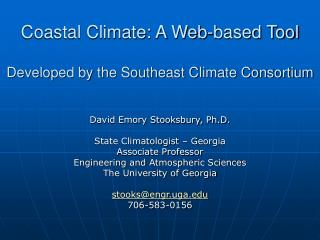 Coastal Climate: A Web-based Tool Developed by the Southeast Climate Consortium