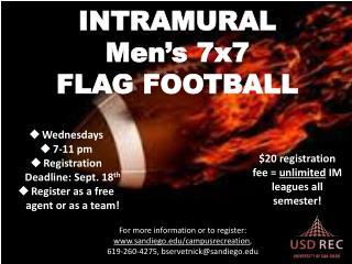 INTRAMURAL  Men's 7x7  FLAG FOOTBALL