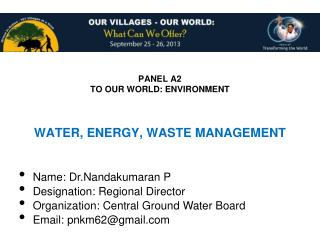 PANEL A2 TO OUR WORLD: ENVIRONMENT