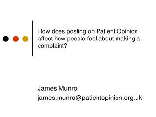 How does posting on Patient Opinion affect how people feel about making a complaint?