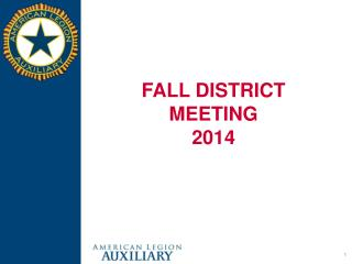 FALL DISTRICT MEETING 2014