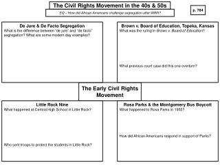 The Civil Rights Movement in the 40s & 50s