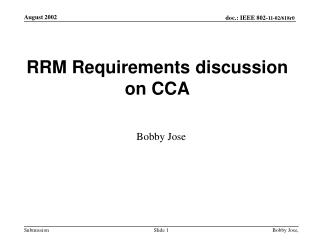 RRM Requirements discussion on CCA