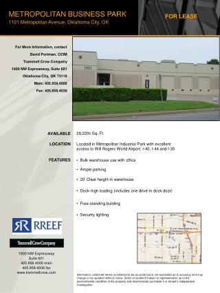 METROPOLITAN BUSINESS PARK 1101 Metropolitan Avenue, Oklahoma City, OK