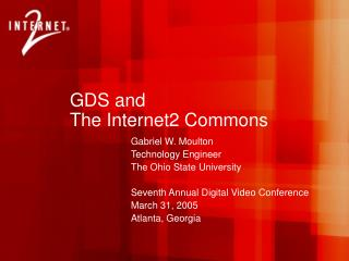 GDS and  The Internet2 Commons