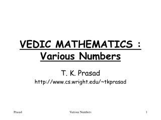VEDIC MATHEMATICS : Various Numbers