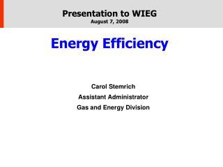 Presentation to WIEG August 7, 2008 Energy Efficiency