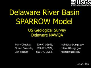 Delaware River Basin SPARROW Model