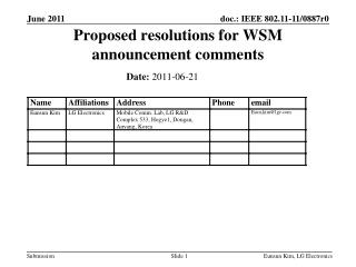 Proposed resolutions for WSM announcement comments