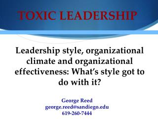 TOXIC LEADERSHIP