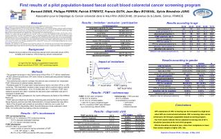 First results of a pilot population-based faecal occult blood colorectal cancer screening program