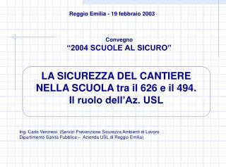 LA SICUREZZA DEL CANTIERE  NELLA SCUOLA tra il 626 e il 494.  Il ruolo dell'Az. USL