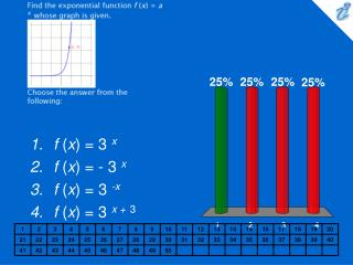 Find the exponential function f x  a x whose graph is given. {applet} Choose the answer from the following: