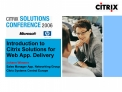 Introduction to  Citrix Solutions for  Web App. Delivery