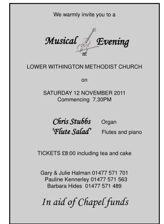We warmly invite you to a  at LOWER WITHINGTON METHODIST CHURCH on SATURDAY 12 NOVEMBER 2011