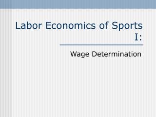Labor Economics of Sports I: