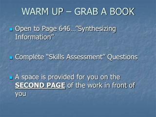 WARM UP � GRAB A BOOK