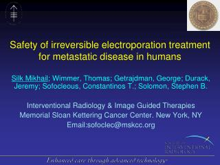 Safety of irreversible electroporation treatment  for metastatic disease in humans