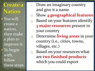 Create a  Nation