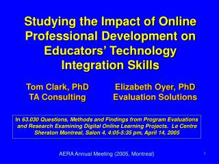 Studying the Impact of Online Professional Development on Educators' Technology Integration Skills