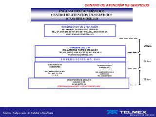 ESCALACION DE SERVICIOS  CENTRO DE ATENCI�N DE SERVICIOS  (CAS) HERMOSILLO