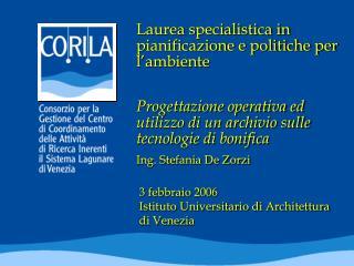 Laurea specialistica in pianificazione e politiche per l'ambiente