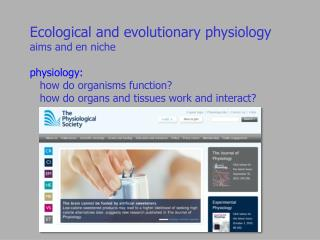 Ecological and evolutionary physiology aims and en niche
